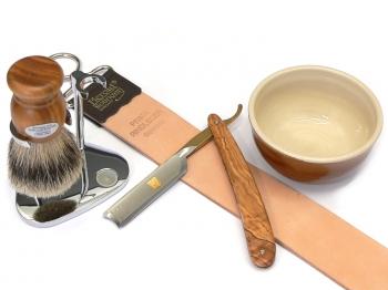 Rasiermesser Setangebot 5-teilig Bergischer Löwe Olivenholz
