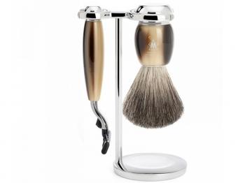 Mühle VIVO Rasierset mit Nassrasierer Gillette® Mach3® kompatibel und Rasierpinsel hornfarben