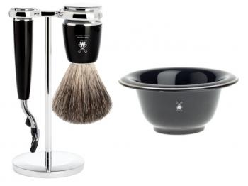Setangebot Mühle Nassrasierer Gillette® Mach3® kompatibel Acryl schwarz mit Rasiernapf