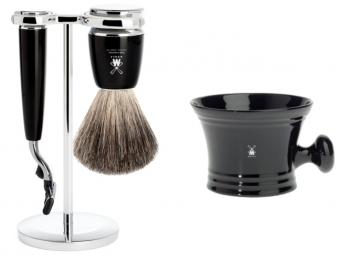Mühle Setangebot 2-teilig Nassrasierer Gillette® Mach3® kompatibel Acryl schwarz mit Rasiernapf