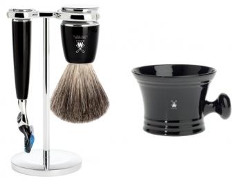 Mühle Setangebot 2-teilig Nassrasierer Gillette® FUSION® kompatibel Acryl schwarz mit Rasiernapf