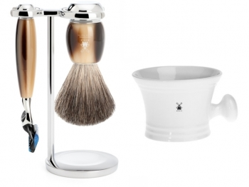 Setangebot Mühle Nassrasierer Gillette® Fusion® kompatibel Acryl horn mit Rasiernapf