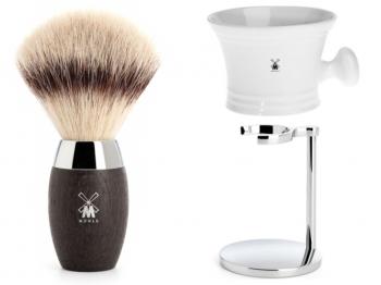 Rasierpinsel Set Angebot Mühle KOSMO Silvertip Fibre® Mooreiche