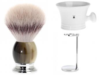 Setangebot Mühle Rasierpinsel SOPHIST Silvertip Fibre® mit Halter und Seifenschale