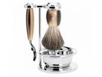 Rasierset Mühle VIVO 4-teilig Nassrasierer Gillette® Mach3® kompatibel Rasierpinsel hornfarben