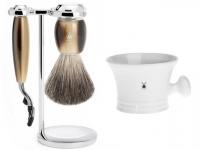 Setangebot Mühle Nassrasierer Gillette® Mach3® kompatibel Acryl horn mit Rasiernapf