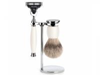 Mühle Rasierset Sophist mit Nassrasierer Gillette® Mach3® kompatibel und Silberspitz Rasierpinsel Porzellan