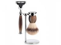 Mühle Rasierset Sophist Nassrasierer  Gillette® Mach3® kompatibel Rasierpinsel Silvertip Fibre® Horn