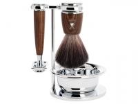 Rasierset Mühle RYTMO 4-teilig mit Rasierhobel und Rasierpinsel  Black Fibre Eschenholz