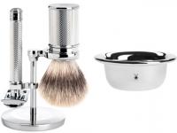 Mühle Rasierset TRADITIONAL mit Rasierhobel und Silvertip Fibre® Rasierpinsel Halter und Seifenschale