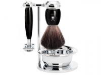 Mühle VIVO Rasierset 4-teilig Black Fibre schwarz Edelharz mit Rasierhobel