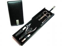 Pfeilring Manikürset vernickelte Instrumente Nappaleder schwarz