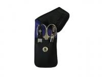 DOVO Shavette Leichtmetall silberfarben mit schwarzem Griff