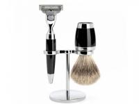 Mühle Rasierset Stylo 3-teilig Nassrasierer Gillette® Mach3® kompatibel und Rasierpinsel schwarz