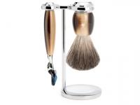 Mühle VIVO Rasierset mit Nassrasierer Gillette® Fusion™ kompatibel und Rasierpinsel hornfarben